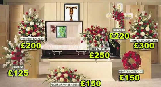 Funeral flowers starting prices